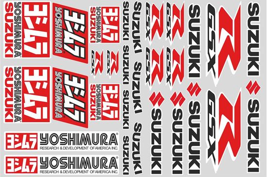 "Picture of ""Suzuki GSX-R Yoshimura"" Track and street race sponsor Sticker Sheet"