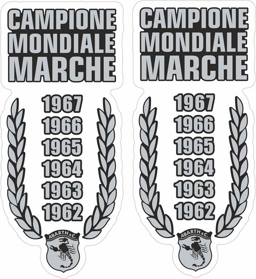Picture of Fiat  Abarth Campione Mondiale Marche Stickers / Decals