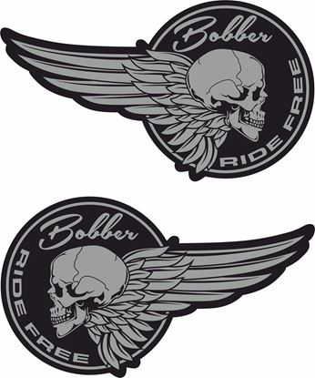"Picture of ""Bobber Ride Free"" Decals / Stickers"