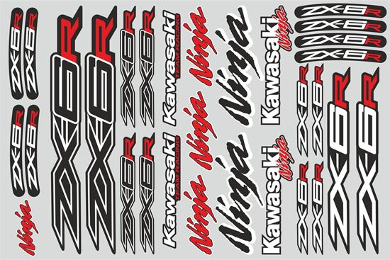 "Picture of ""Kawasaki ZX-6R""  Track and street race sponsor Sticker Sheet"