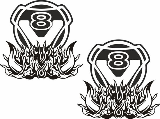 "Picture of Scania ""V8"" general panel Decals / Sticker"