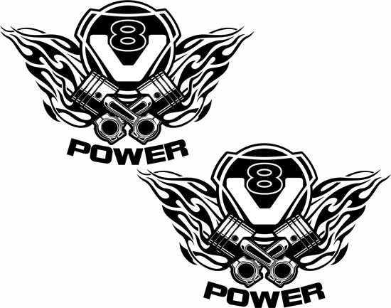 """Picture of Scania  """"V8 Power """" Panel Decals / Stickers"""