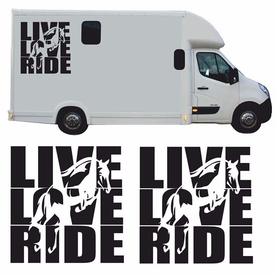 """Picture of """"Live Love Ride"""" side panel Decals / Stickers"""