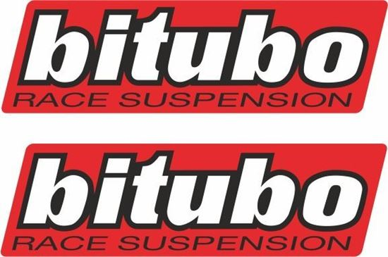 "Picture of ""Biturbo Race Suspension"" Track and street race sponsor Decals / Stickers"
