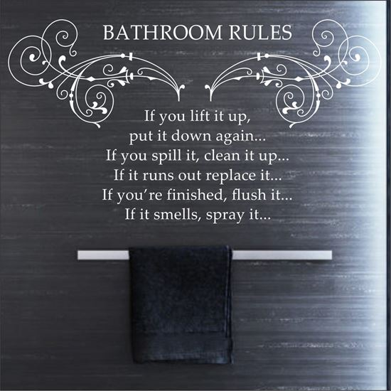 "Picture of ""Bathroom Rules...""  Wall Art sticker"