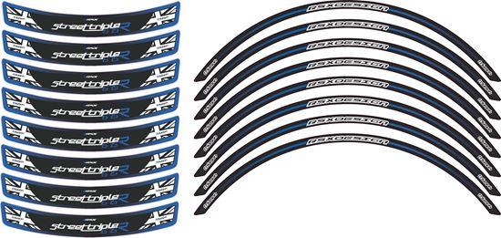 "Picture of Triumph Street Triple 675R ""RSX Design""  Wheel rim Decals / Stickers kit"