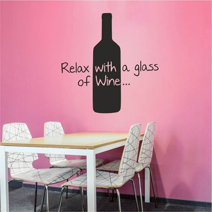 "Picture of ""Relax with a glass of Wine""  Wall Art sticker"