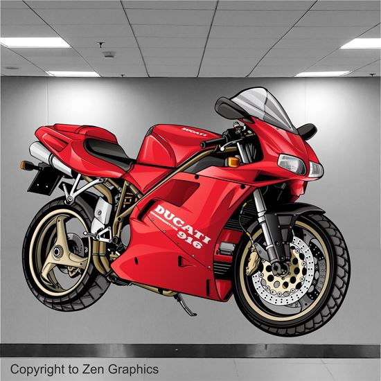 Picture of Ducati 916 Desmoquattro Wall Art sticker (full colour)