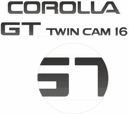 Picture of Toyota Corolla AE86  GT Twin Cam 16 replacement rear hatch Decals / Stickers