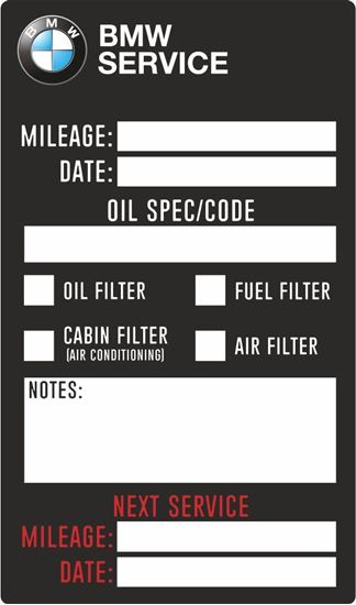 Picture of BMW Service / Maintenance Stickers
