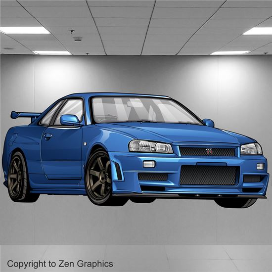 Picture of Nissan Skyline R34 GTR Wall Art sticker (full colour)