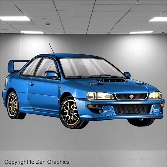 Picture of Subaru Impreza RB22 Wall Art sticker (full colour)