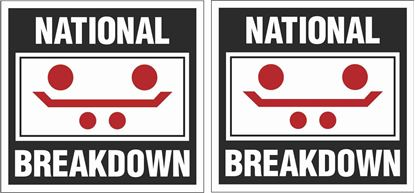 """Picture of """"National Breakdown"""" Glass Decals / Stickers"""