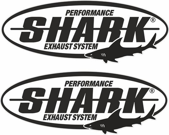 """Picture of """"Shark Exhaust System""""  Track and street race sponsor Decals / Stickers"""