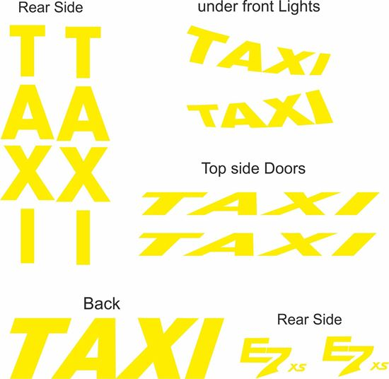 Picture of Peugeot E7 XS replacement Taxi Minicab Decals / Stickers