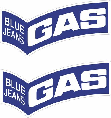 """Picture of """"Blue Jeans Gas"""" Decals / Stickers"""
