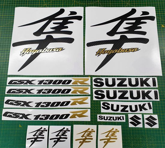 Picture of Suzuki Hayabusa 1300R  1999 - 07 Carbon Fibre & Gold replacement Decals / Stickers