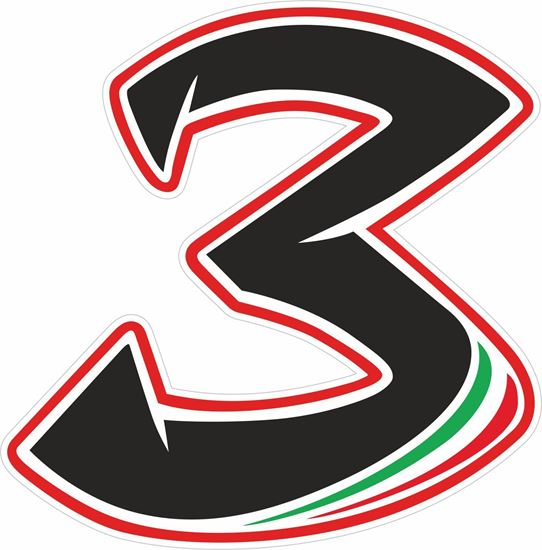 """Picture of """"3""""  Max Biaggi Track and street race nose cone number Decal / Sticker"""