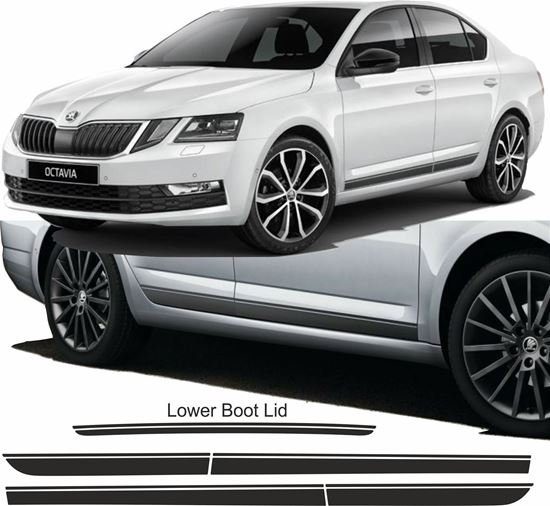 Picture of Skoda Octavia 2013 -16 side & rear Stripes / Stickers EXACT PANEL FIT