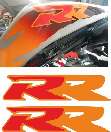 """Picture of Honda CBR 900RR Tiger 2104  replacement """"RR""""  tail Decals / Stickers"""