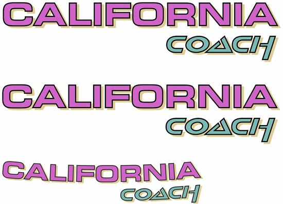 """Picture of T4  """"California Coach""""  replacement Decals / Stickers LILAC"""