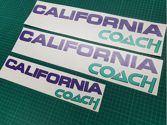 """Picture of T4  """"California Coach"""" replacement  Decals / Stickers PURPLE"""
