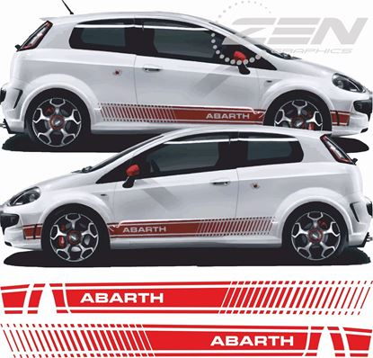 Picture of Fiat Punto Abarth CARBON FIBRE side Stripes / Stickers FACTORY FIT