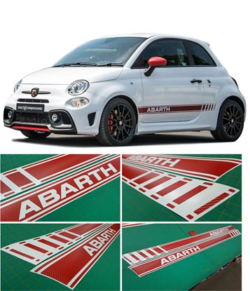 Picture of Fiat 595 Abarth OEM style Stripes / Stickers CARBON FIBRE