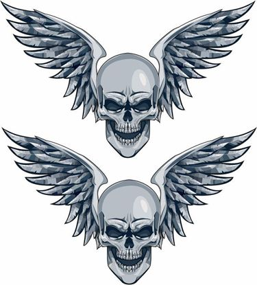Picture of Skull Wings Decals / Stickers