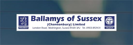 Picture of Ballamys of Sussex  Dealer rear glass Sticker