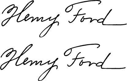 "Picture of ""Henry Ford""  Signature General Panel  Decals / Stickers"