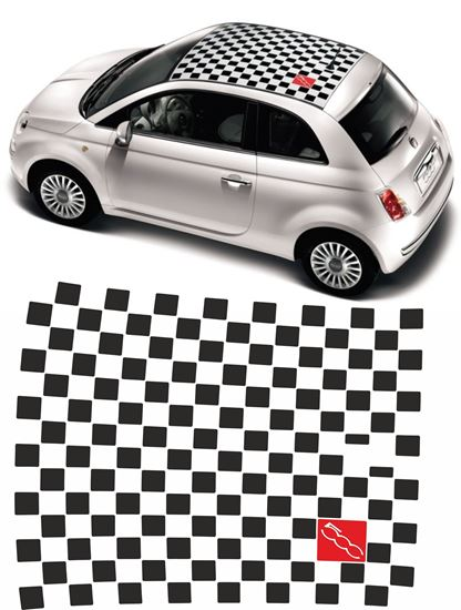 Picture of Fiat 500 Chequered Roof  Decals / Stickers FACTORY FIT
