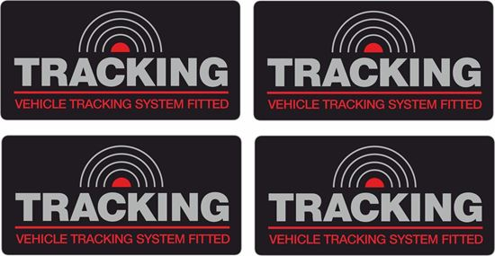 """Picture of """"Vehicle Tracking System Fitted"""" x4  Decals / Stickers 60mm x 25mm"""
