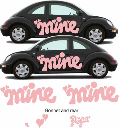 "Picture of Beetle  ""Mine"" side, Front and rear Decals / Stickers"