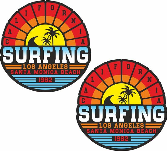 "Picture of ""Surfing Santa Monica""""  Decals / Stickers"