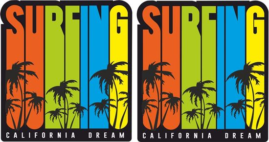 "Picture of ""Surfing California Dream""  Decals / Stickers"