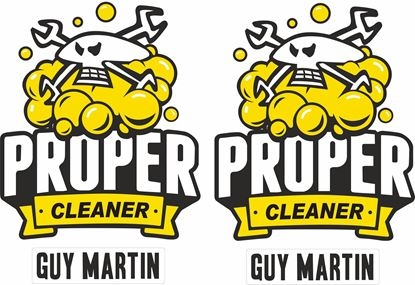 """Picture of Guy Martin """"Proper Cleaner"""" Decals / Stickers"""