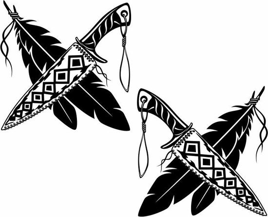 Picture of Knife and feather panel  Stickers / Decals