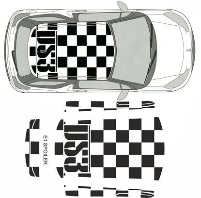Picture of DS3 Chequered roof Decals / stickers FACTORY FIT