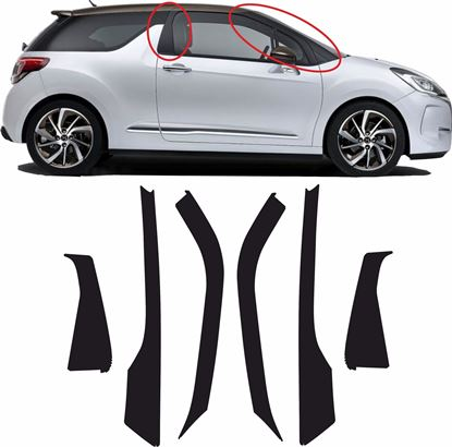 Picture of DS3 A & B Pillar textured protection Vinyl / stickers COMPLETE SET