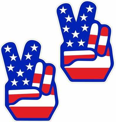 "Picture of American Flag ""Peace"" Hand general panel  Decals / Stickers"