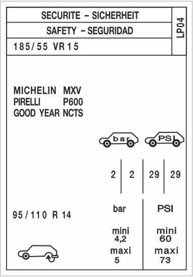 """Picture of Peugeot 205 GTI """"LP04"""" Tyre Information Decal / Sticker"""