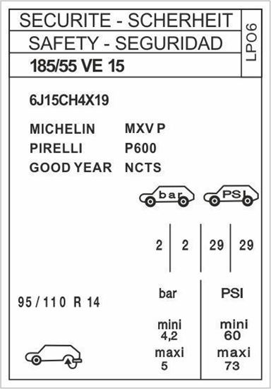 """Picture of Peugeot 205 GTI """"LP06"""" Tyre Information Decal / Sticker"""