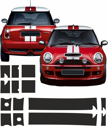 Picture of Mini R50 / R52 / R53 Bonnet and rear Stripes / Stickers
