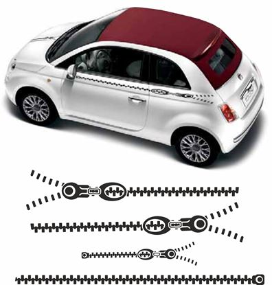 Picture of Fiat 500 / 595 side Zip Stripes / Stickers FACTORY FIT