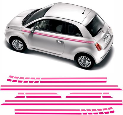 Picture of Fiat 500 Pink side Stripes / Stickers FACTORY FIT