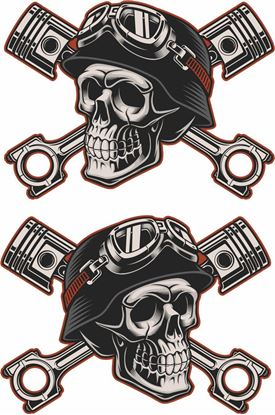 Picture of Skull and Pistons Decals / Stickers