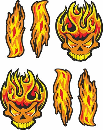 Picture of Skull Flames panel  Decals / Stickers