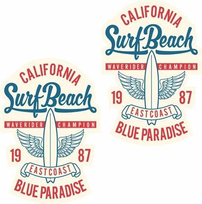 """Picture of """"California Surf Beach""""""""  Decals / Stickers"""