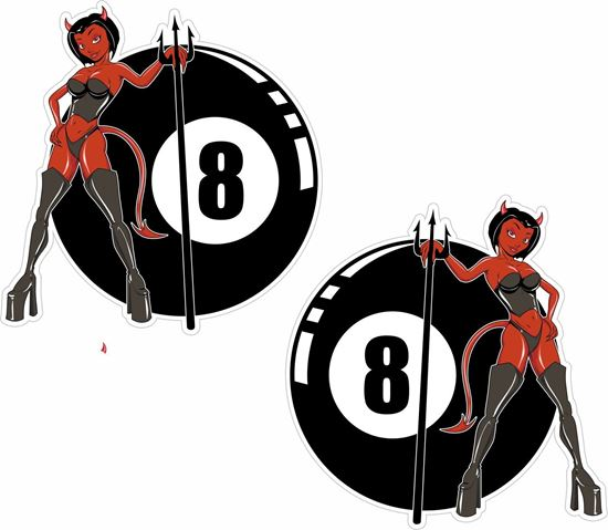 Picture of 8 Ball Devil Girl general panel  Decals / Stickers